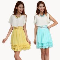 仙丫 2013夏装新款韩版女装OL气质修身裙子夏季雪纺连衣裙收腰瘦 价格:105.00