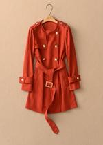 特价秒杀!Prich 13秋冬装优雅羊毛无领双排扣风衣PRJT34953N橘红 价格:468.00