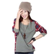 包邮2013秋装新款韩版拼接圆领格子宽松中长款大码打底衫长袖T恤 价格:19.90