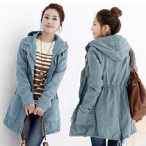 2013春秋新款女装加厚外套韩版大码修身显瘦中长款休闲风衣外套女 价格:95.00