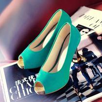 金属高跟马蹄跟单鞋 鱼嘴防水台女鞋 春款公主甜美鞋 特大码40-43 价格:69.00