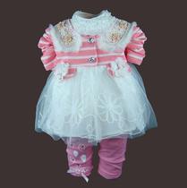 儿童装女童长袖公主条纹套装2013秋装新款衣服女孩外贸韩版女宝宝 价格:89.00
