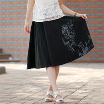 2013江南布衣款半身裙 新款品牌女装时尚印花亚麻宽松半身裙中裙 价格:199.00