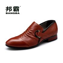 邦霸时尚英伦商务正装男士皮鞋正品日常休闲鞋套脚尖头男鞋板鞋 价格:329.00