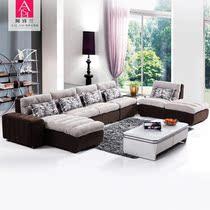 阿诗兰家具现代时尚简约沙发组合转角植绒大客厅布艺沙发特价B296 价格:2980.00