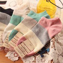 撞色条纹 船袜 女士 袜子 纯棉 全棉短筒薄款 外贸 价格:2.90