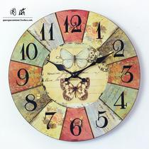 包邮欧式复古挂钟 现代木质卧室客厅 田园做旧创意家居装饰钟表 价格:58.00