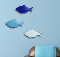 地中海蓝色系鱼群墙壁装饰/北欧风格壁饰/可组合创意铁艺装饰墙贴 价格:15.00