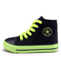 韩版潮2013秋季一休儿童帆布鞋男童鞋女童单鞋板鞋高帮青少年男孩 价格:58.00