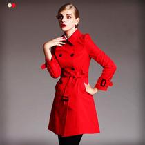 女装秋款2013欧美修身中长款新品双排扣英伦女式风衣女外套春秋 价格:259.00