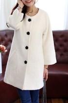 2013秋冬新款 韩版高档中长款毛呢大衣外套 淑女女式呢子大衣白色 价格:168.00