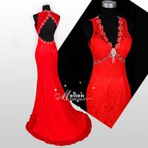 新款复古红色新娘时尚镂空蕾丝小拖尾婚纱礼服修身长款敬酒服8611 价格:328.00