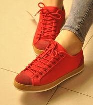 爆款潮流男女士帆布鞋工作板鞋情侣款低帮系带红蓝色学生休闲鞋子 价格:32.00