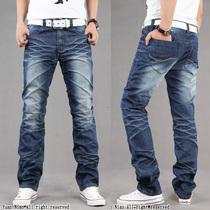 包邮2013新款男装男士韩版修身个性牛仔裤蓝色高档长裤个性后袋 价格:88.00