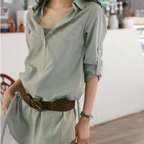包邮女衬衫2013新款秋装韩版休闲宽松女式中长款衬衣长袖大码 价格:68.00