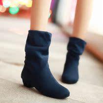 2013春秋新品女鞋特价英伦粗中跟短靴女新款马丁靴裸单绒面靴秋款 价格:49.00