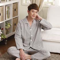 浪如心 2013秋季新款 100%纯棉色织格棉布男士长袖长裤睡衣家居服 价格:75.00