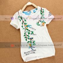 2013夏装新款 Rough art树叶精灵刺绣贴布 日式纯棉女上衣短袖T恤 价格:48.00