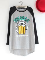 秋款 韩版可爱啤酒英文印花松大码中长款插肩长袖圆领打底T恤衫女 价格:52.00