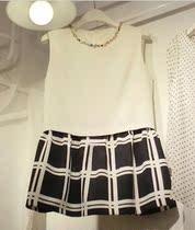 2013秋装季新款女装韩版镶钻显瘦格子无袖大码雪纺连衣裙女装 价格:139.00