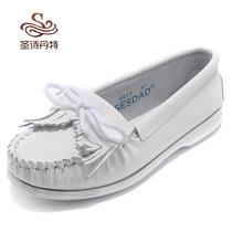 韩版小白鞋 真皮流苏护士鞋平底孕妇鞋 平跟单鞋休闲鞋豆豆女鞋 价格:58.00