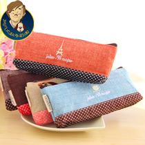 阿凡大叔 4870韩国创意文具小清新棉麻粗线条布艺拼接波点笔袋 价格:5.30
