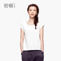 初棉夏季女士新款纯色自然棉麻卷边袖打底衫短袖t恤衫 亚麻女 价格:89.00