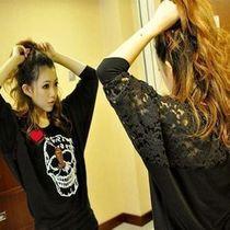 2013韩版秋装新款女装蕾丝拼接蝙蝠袖打底衫 大码骷髅圆领长袖T恤 价格:105.40
