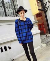 韩版2013秋冬新款大牌百搭格子毛衣长袖简约圆领罩衫外套学院风女 价格:88.00