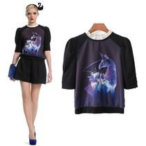 欧家2013秋季新款女装欧美动物印花雪纺立领中袖套头上衣短t恤女 价格:80.00