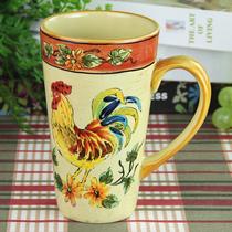玫瑰小镇 田园风格手绘彩瓷乡村公鸡 高马克杯 DC0020(公鸡) 价格:89.60