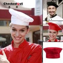 厨师工作帽 酒店餐厅厨房工作帽checkedout男女服务员帽子 厨师帽 价格:17.00