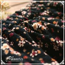 B3735森林系日单秋冬森女复古文艺碎花全棉灯芯绒半身裙开叉长裙 价格:92.00