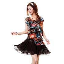 2013易菲夏装特价清仓 新款品牌印花雪纺百褶宽松连衣裙女DLS8080 价格:28.00