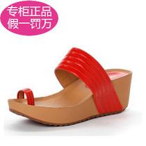 达芙妮专柜正品 2013新款PU坡跟套指淑女凉拖鞋1013303015 130 价格:115.00