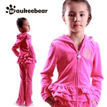 沃基熊正品童装 儿童女童2013秋款玫红天鹅绒公主套装 价格:99.00