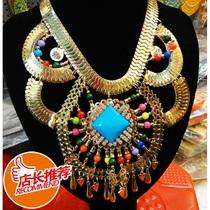 新奇特爆款 超大号夸张版金属镶嵌混合彩色宝石项链 潮女出门必备 价格:61.20