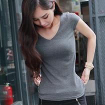 2013夏装新款紧身t恤打底衫V领女款短袖韩版修身显瘦大码女士t恤 价格:70.00