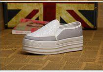 2013秋新款一脚蹬套脚纯色懒人鞋 低帮亮片松糕跟厚底帆布鞋女鞋 价格:24.00