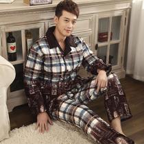 柔丝纯 秋冬季加肥加大码男格子加厚保暖珊瑚绒夹棉睡衣家居服套 价格:149.00