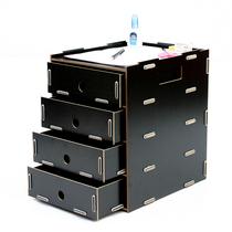 丽珑桌面收纳柜收纳箱 木质抽屉收纳柜DIY文件架四层收纳盒 E1005 价格:124.02