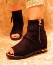 2013春秋季新款女鞋中跟坡跟绒面甜美侧拉链内增高马丁靴鱼嘴短靴 价格:43.00