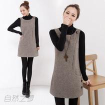 加厚羊毛呢修身显瘦连衣裙打底毛呢背心裙无袖马甲裙韩版女 价格:45.00