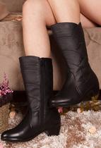 中年女士秋冬季新款真皮棉妈妈鞋牛皮真皮低跟中靴高筒靴子特大码 价格:149.00