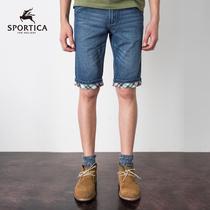 SPORTICA 夏季磨白牛仔中裤 可翻折格纹五分牛仔短裤 男 夏433026 价格:69.00