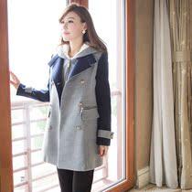 13秋冬外套双排扣毛呢大衣女中长款修身撞色呢子大衣长袖毛呢外套 价格:328.00