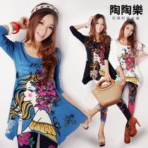 【陶陶乐】2013春装新款 时尚修身街头脸谱图案中长款长袖T恤女款 价格:99.00