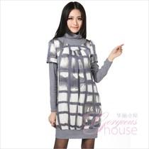 专柜过季折扣正品COZZI 秋款韩版假两件灰色系格子纹高领连衣裙 价格:138.00
