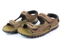 木林森夏季清仓断码男凉鞋 2013真皮舒适魔术贴沙滩凉鞋M1310914 价格:196.00