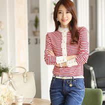 香仙妃2013秋装新款条纹T恤女长袖韩版蕾丝打底衫女士大码上衣 价格:48.00